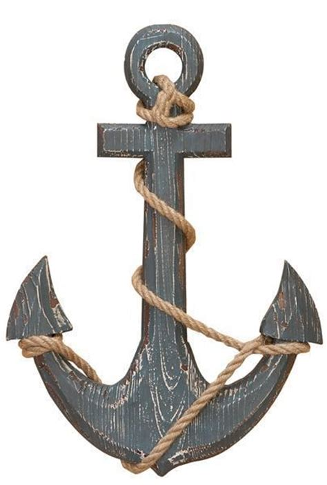 18 in Wood Ship Anchor With Rope Nautical Decor - 18 in ...
