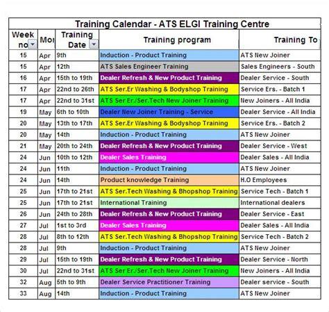 image result  training calendar format excel calendar