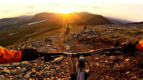 snowdon ranger path mountain bike sunset descent gopro