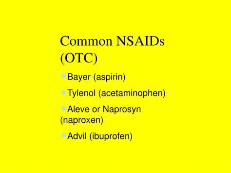 common nsaids otc bayer aspirin tylenol injuries knee ppt powerpoint presentation aleve ibuprofen advil naprosyn acetaminophen naproxen