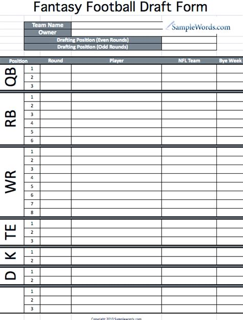 track roster template printable fantasy football draft form my husband i