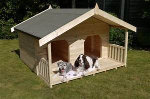 Luxury double dog kennel summerhouse for 2 large dogs dog for Double dog house for large dogs