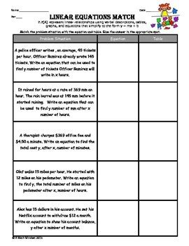 7 7 a representing linear relationships in a variety of forms matching worksheet