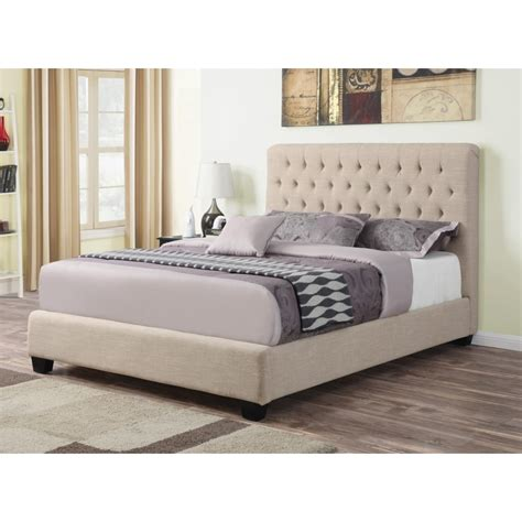 Padded Headboard Size Bed by Upholstered Size Bed With Tufted Headboard Oatmeal