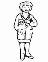 Doctor Coloring Helpers Female Printable Drawing Sheet Jobs sketch template