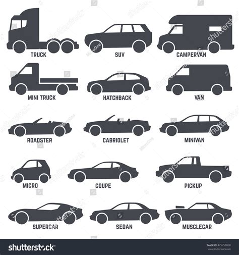 Car Automobile Types Black Vector Icons Stock Vector