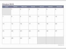 Calendario octubre 2019 para imprimir iCalendarionet