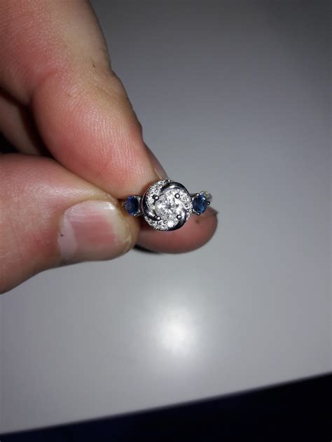 vera wang love collection 5 8 ct t w diamond and blue sapphire swirl engagement ring 14k white