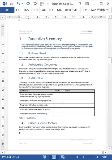 business case templates ms word templates forms checklists  ms office  apple iwork