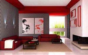 cool Living Room Interior With Flashy Red Color ...