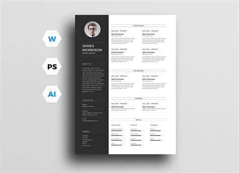 minimal cv resume template  word ai psd good