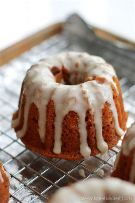 Bake 50 to 55 minutes at 350 degrees. Glazed Mini Pumpkin Bundt Cake Recipe | Lauren's Latest