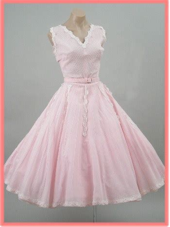 vintage dresses  pink pearls lace pintucked full
