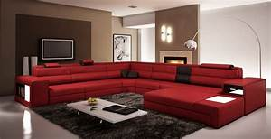 Divani casa polaris dark red bonded leather sectional sofa for Red and brown sectional sofa