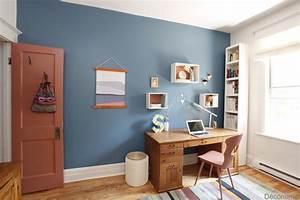 Mon Bureau Transform U00e9 Avec La Couleur Bleue Tendance