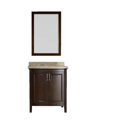cocoa and null 30 in vanity in cocoa with granite vanity top