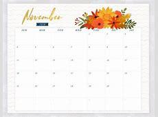 November 2018 Calendar Editable Printable Template