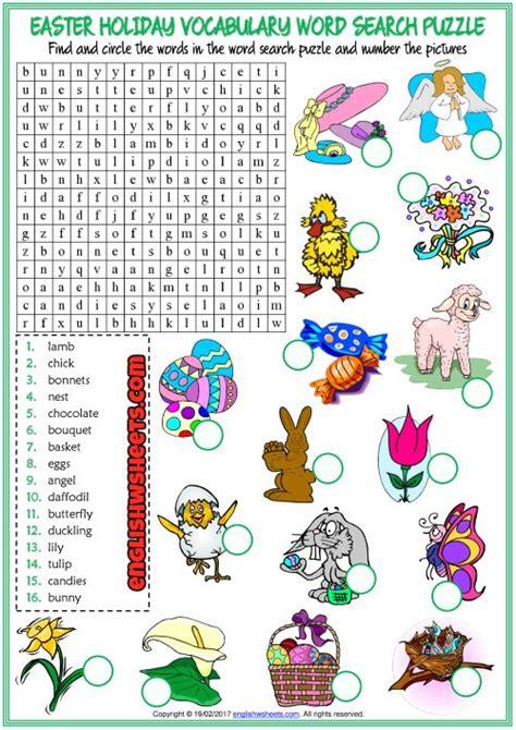 easter holiday esl printable vocabulary worksheets