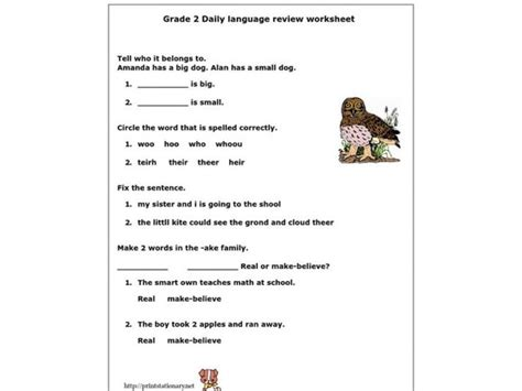 grade 2 daily language review worksheet worksheet for 2nd