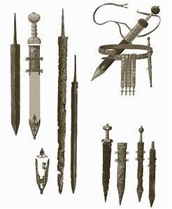 Top right: Roman sword, a gladius, with baldric and dagger ...