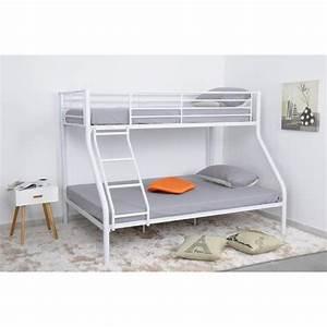Lit Superposé Double : finlandek lit superpos double 90 x 140 cm blanc leijona ~ Premium-room.com Idées de Décoration