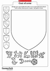 heraldry dragon coloring pages With make your own coat of arms template