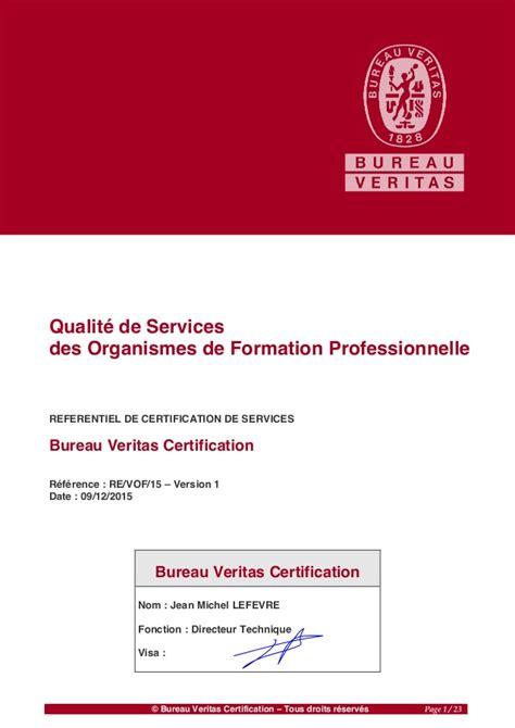 formation bureau veritas qualité de la formation référentiel bureau veritas