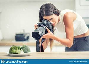 Woman Professional Photographing Plate With Broccoli. Food Photographer Working In Kitchen ...