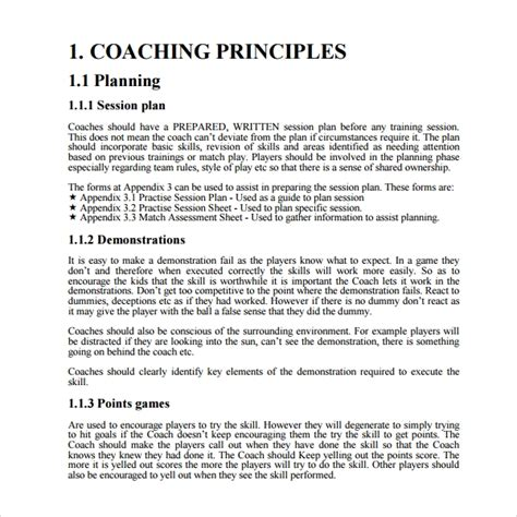 coaching plan templates  word pages sample