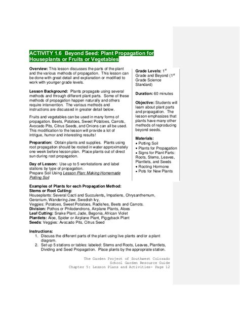 colorado school gardening guide chapter 3 activities and