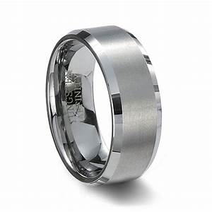 brushed finish tungsten carbide wedding band polished With brushed beveled edge wedding ring