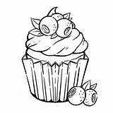 Coloring Cupcake Muffin Kawaii Kleurplaat Colorear Colorare Blueberry Cupcakes Colorir Schattige Premium Pagina Bladeren Bessen Coloriage Panna Kleurplaten Bosbes Muffins sketch template