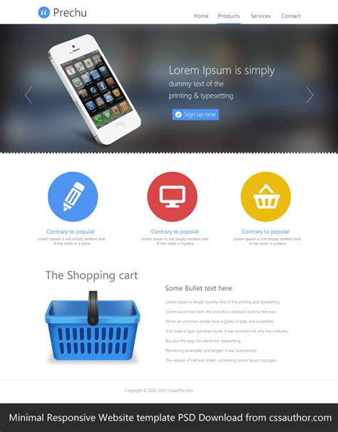 download free web templates minimal responsive website template psd for free download