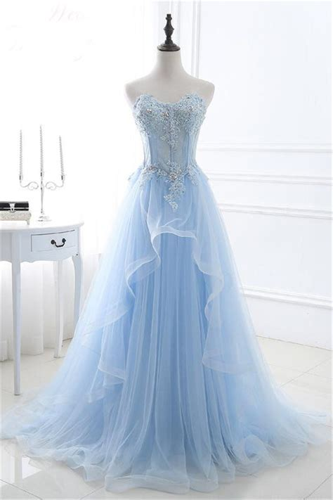 light blue tulle dress a line sweetheart corset light blue tulle ruffle applique