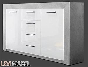 Sideboard Weiß Hochglanz Günstig : sideboard wohnzimmer anbauwand wohnwand beton optik wei hochglanz neu 586369 wohnwand ~ Bigdaddyawards.com Haus und Dekorationen