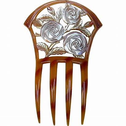 Comb Nouveau Roses Accessory Carved