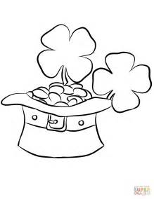 leprechaun coloring pages leprechaun hat and gold coins coloring page free