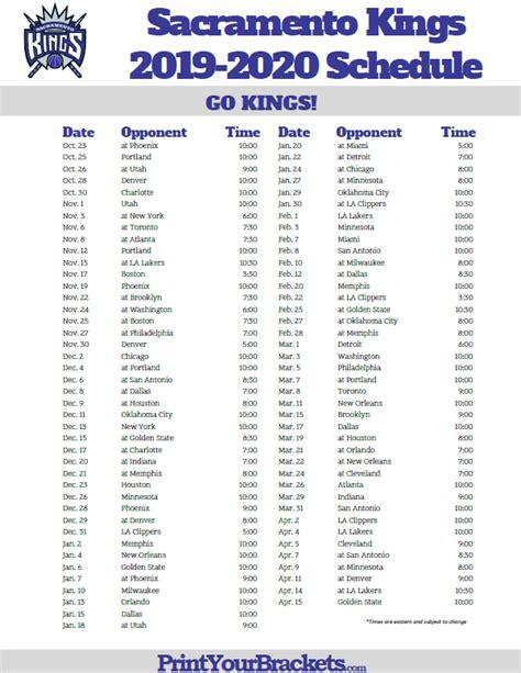 printable sacramento kings schedule