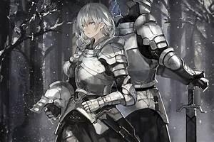Anime, Original, Girl, Armor, Knight, White, Hair, Snow, Sword, Wallpaper