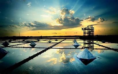 Oil Rig Reflection Wallpapers Salt Platform Water