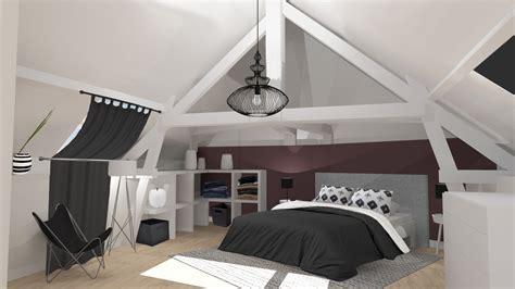 deco chambre espace suite parentale sous les combles création 3d