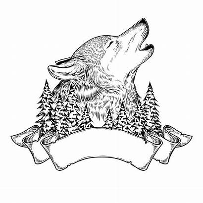 Wolf Howling Vector Illustration Ribbon Head Tattoo