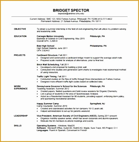 Resume Format Exles by 8 Resume Template For Fresher Free Sles Exles