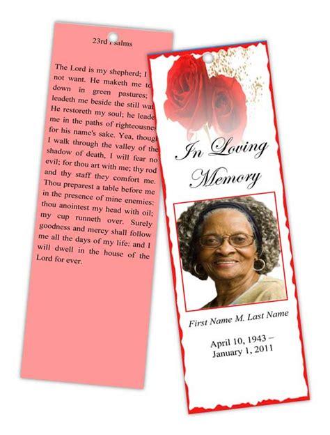funeral program templates memorial bookmark red rose