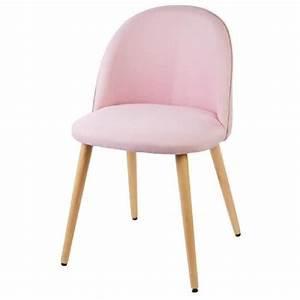 Chaise Bureau Rose : macaron chaise en tissu rose pastel pieds en bois style scandinave l 50 x p 50 cm achat ~ Teatrodelosmanantiales.com Idées de Décoration