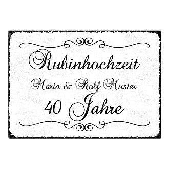 geschenke zum 40 hochzeitstag geschenk zum 40 hochzeitstag schild a4 mit