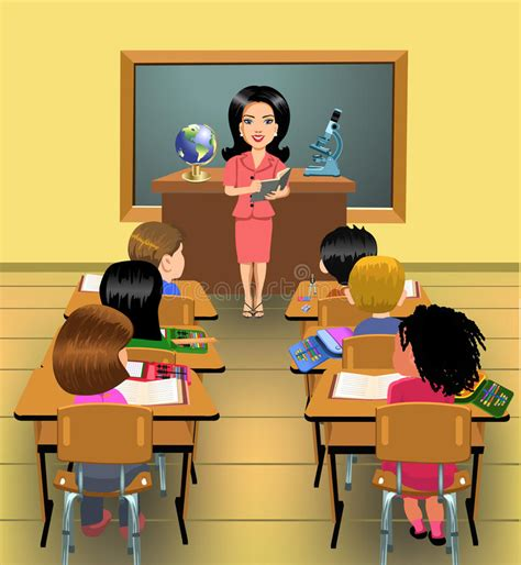 Teaching Lesson In Classroom Stock Vector Illustration