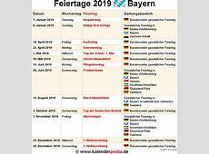 Feiertage Bayern 2018, 2019 & 2020 mit Druckvorlagen