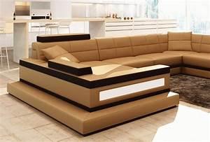 Canapé D Angle 8 Places : canap d 39 angle en cuir italien 8 places majestic marron mobilier priv ~ Teatrodelosmanantiales.com Idées de Décoration