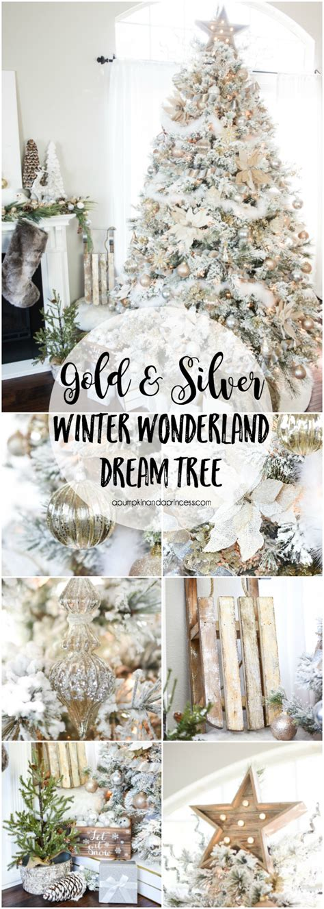 gold  silver winter wonderland tree